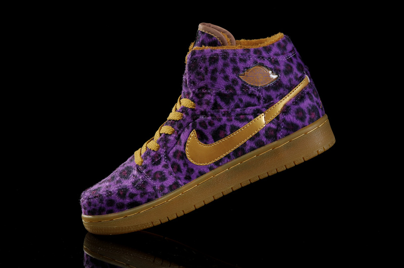 Trendy Women's Air Jordan 1 Cheetah Print Purple Brown