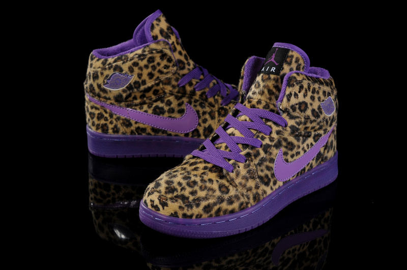Trendy Women's Air Jordan 1 Cheetah Print Purple