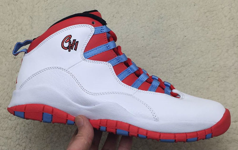 Air Jordan 10 Chicago Flag White Light Crimosn University Blue Black Shoes
