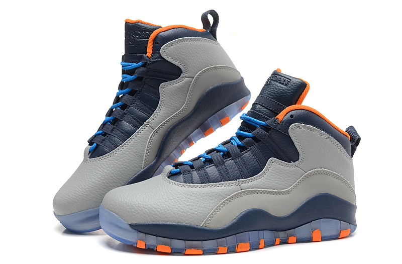 Air Jordan 10 X Retro Bobcats Wolf Grey New Slate Atomic Orange Dark Powder Blue Shoes