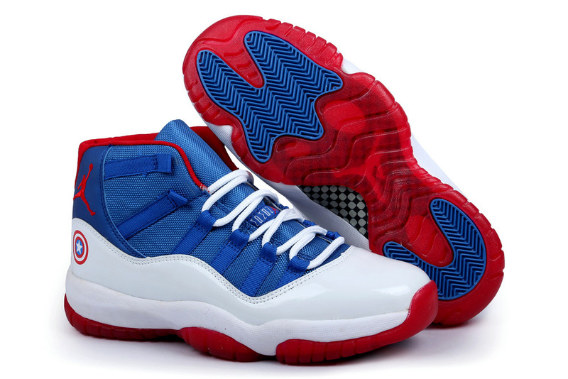 Air Jordan 11 Captain America Edition Blue White Red Shoes