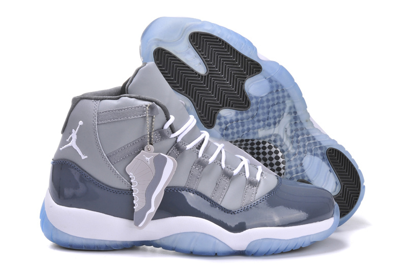 Air Jordan 11 Grey White Shoes With Built in Air Cushion