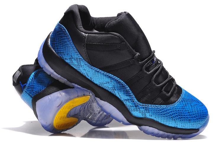 newest fc868 7763f Air Jordan 11 Retro Low Nightsnake Metallic Blue Snakeskin Black Yellow  Shoes