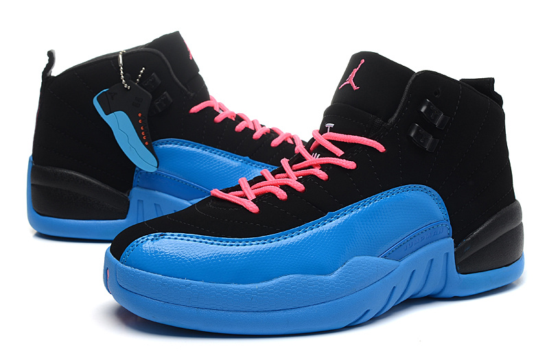 Air Jordan 12 GS Black Blue Pink For Womens Shoes