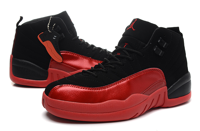 Air Jordan 12 GS Black Red For Womens Shoes
