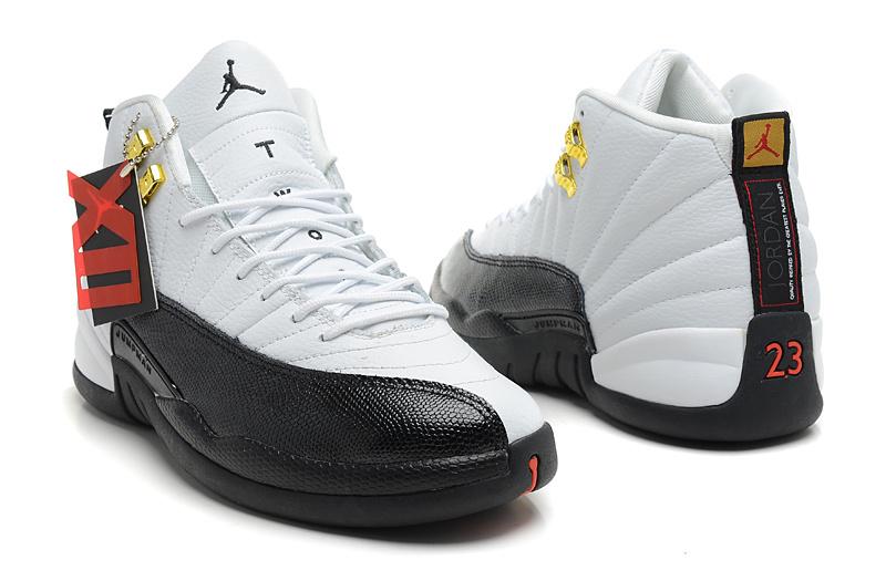 Air Jordan 12 Retro Taxi White Black Taxi Shoes