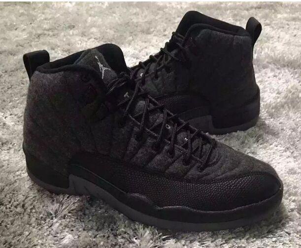 Air Jordan 12 Retro Wool Dark Grey Metallic Silver Black Shoes