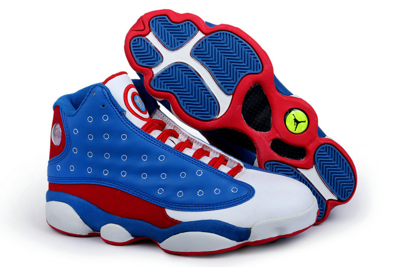 Air Jordan 13 Captain America Edition Blue White Red Shoes