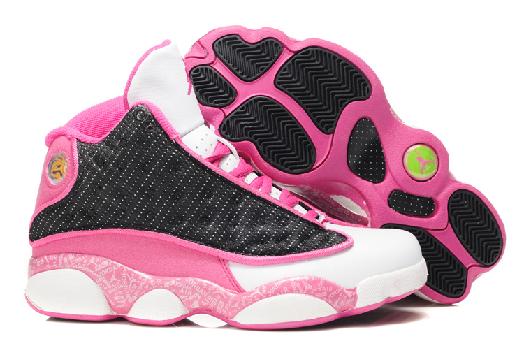 Stylish Women's Air Jordan 13 Print White White Black Pink