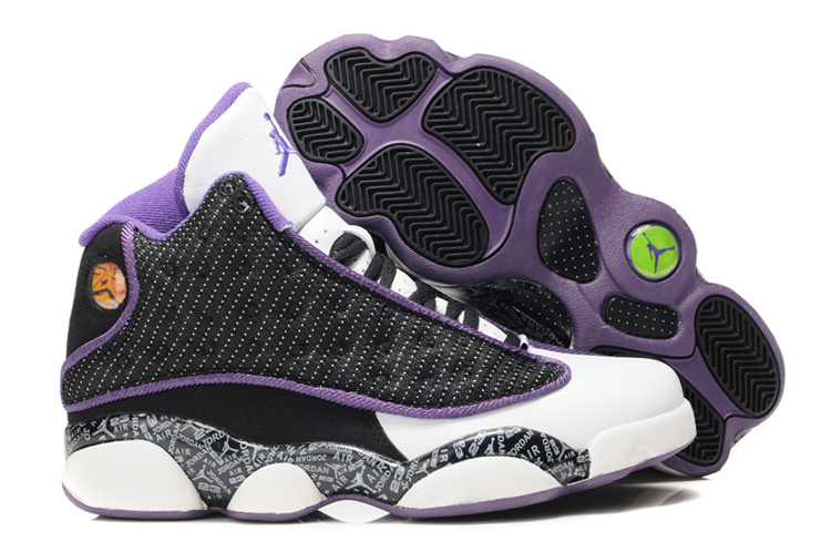 Stylish Women's Air Jordan 13 Print White White Black Purple