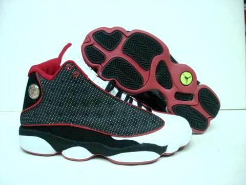 Cheap Real 2015 Air Jordan 13 Black White Red Footwear