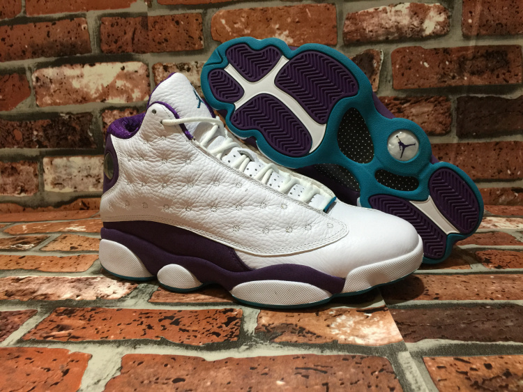 Cheap Real 2015 Air Jordan 13 Hornets White Purple