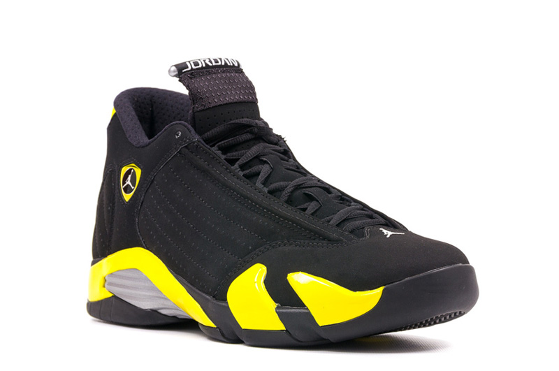 Air Jordan 14 Retro Thunder Black Vibrant Yellow White 2014 July Shoes
