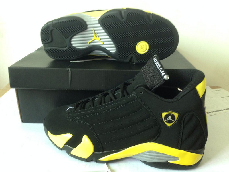 Cheap Real 2015 Air Jordan 14 Thunder Black Yellow