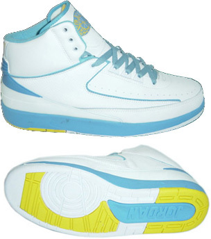 Cheap Air Jordan Retro II White Light Blue Yellow Chrome