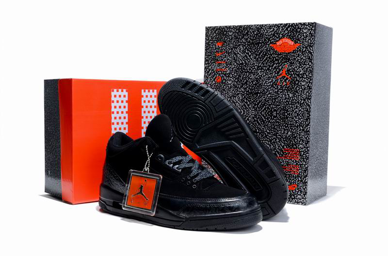 Limited Air Jordan 3 All Black with Hardback Package