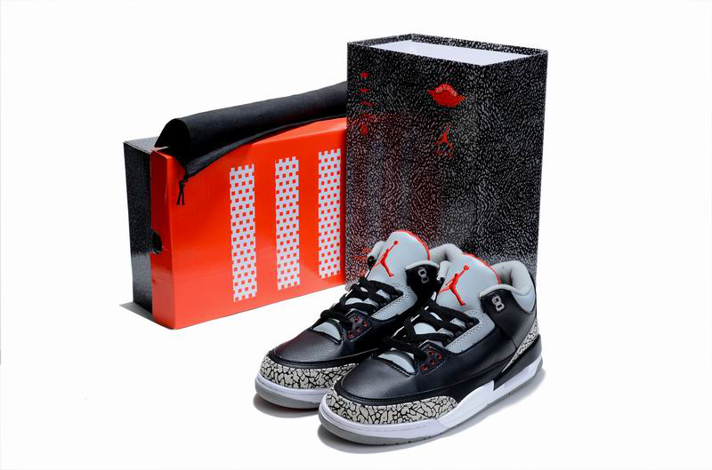 Limited Air Jordan 3 Black Cement White with Hardback Package