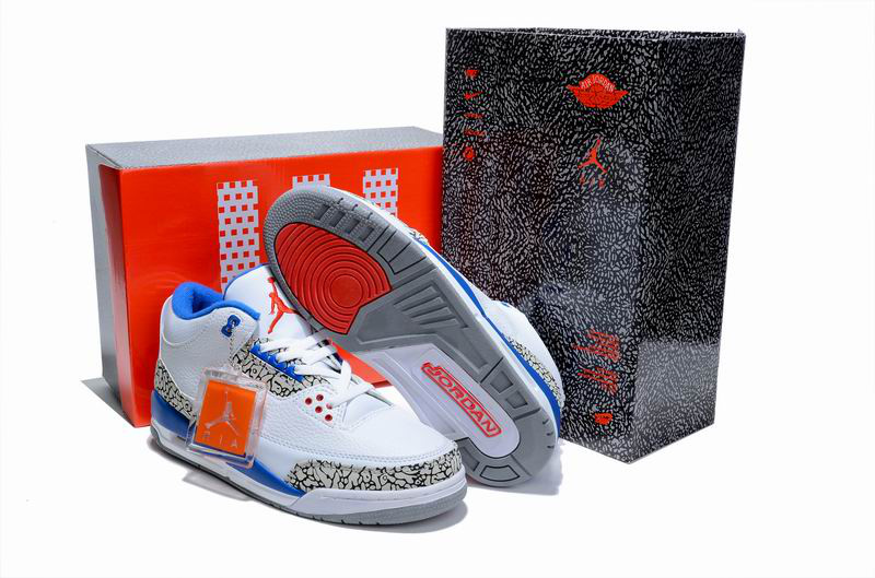 Limited Air Jordan 3 White Cement Blue with Hardback Package