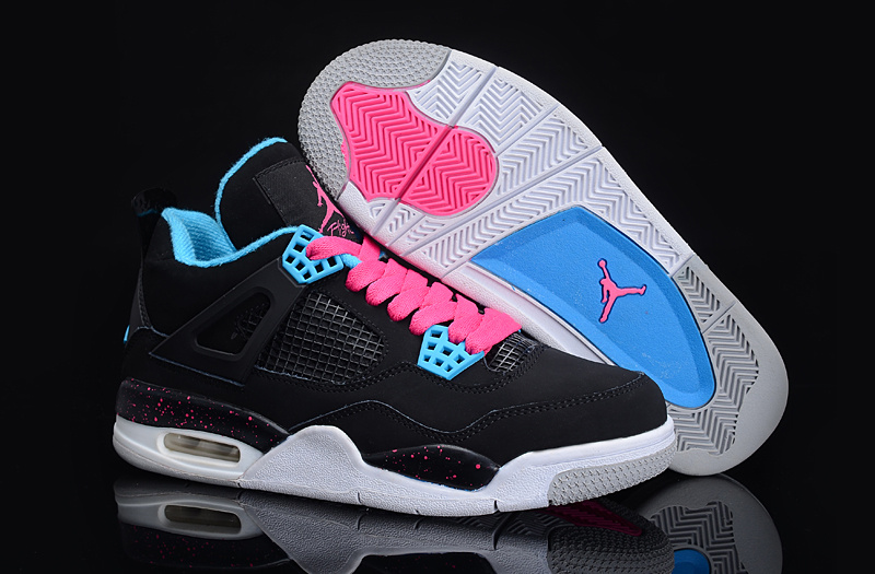 Authentic And Aporitve Women's Air Jordan 4 Black Blue Pink