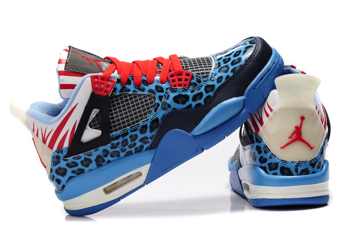 Authentic Jordan 4 Cheetah Print Blue Black White Red Shine For Kids