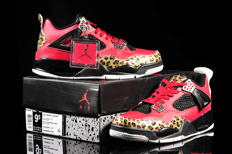 2013 Jordan 4 Retro Leopard Print Limited Edition Red Black Shoes
