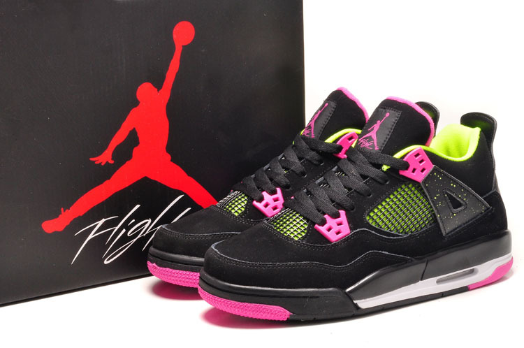 Air Jordan 4 Retro Black Suede Light Green Pink Shoes