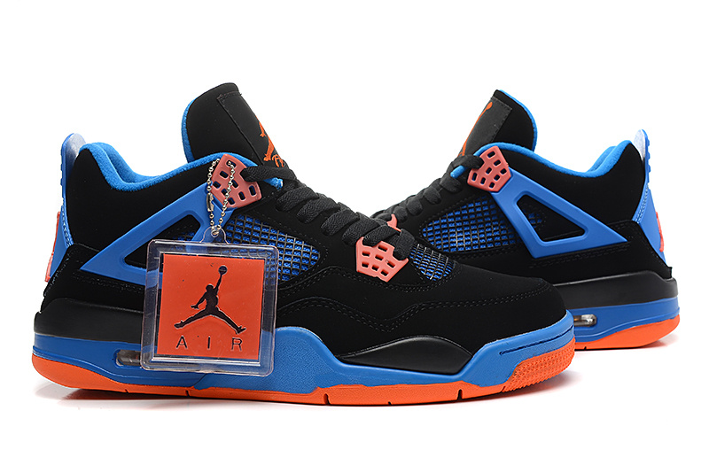 Air Jordan 4 Retro Cavs Black Orange Blaze Old Royal Shoes