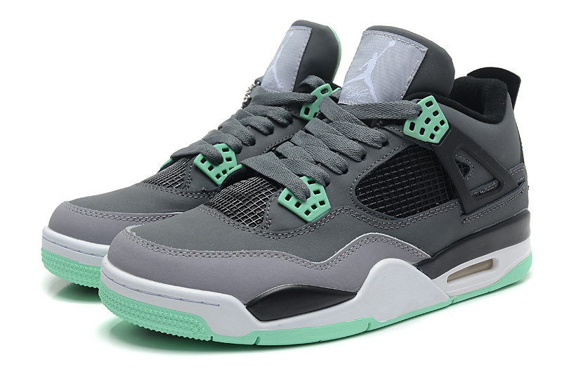 Air Jordan 4 Retro Dark Grey Green Glow Cement Grey Black Shoes