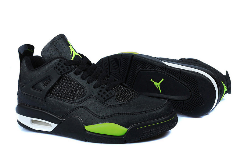 Air Jordan 4 Temporal Rift by Color Black Green Shoes