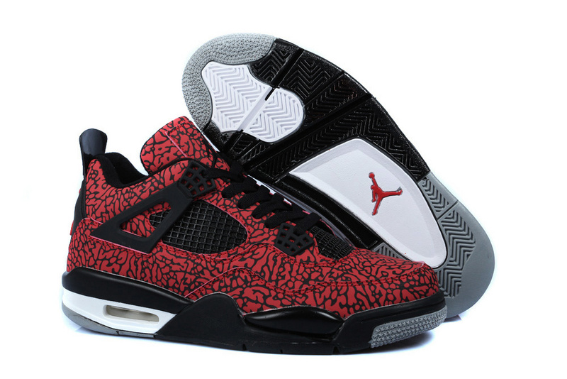 Air Jordan 4 Temporal Rift by Color Red Black Shoes