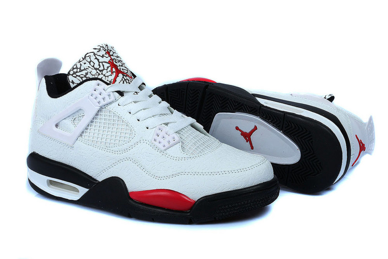 Air Jordan 4 Temporal Rift by Color White Black Red Shoes