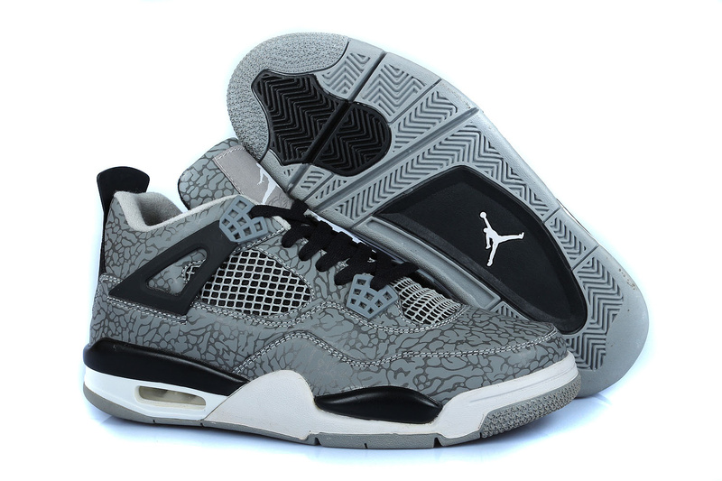 Air Jordan 4 Temporal Rift by Grey Black White Shoes