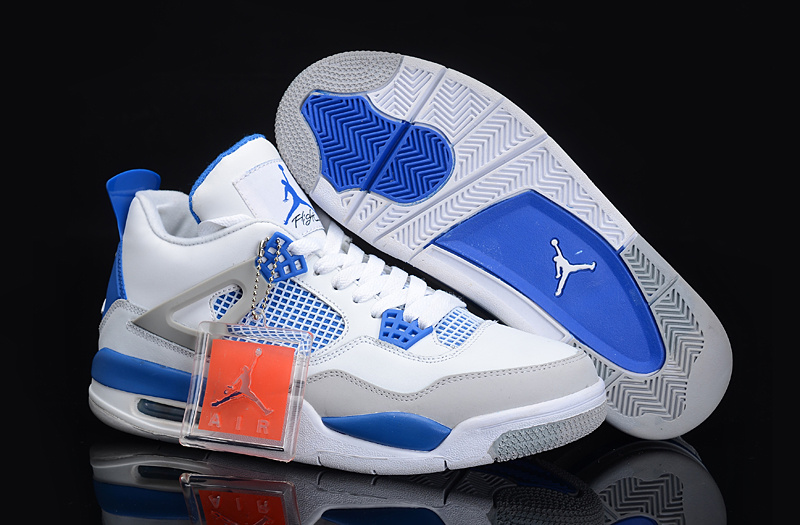Authentic And Aporitve Women's Air Jordan 4 White Blue