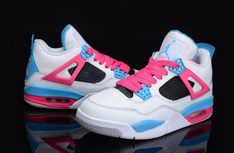 Authentic And Aporitve Women's Air Jordan 4 White Blue Pink