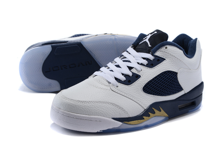 Air Jordan 5 Low Dunk From Above White Metallic Gold Star Midnight Navy Shoes