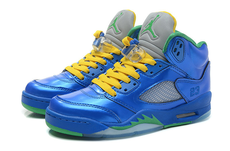 Air Jordan 5 PEs Blue Yellow Green Shoes