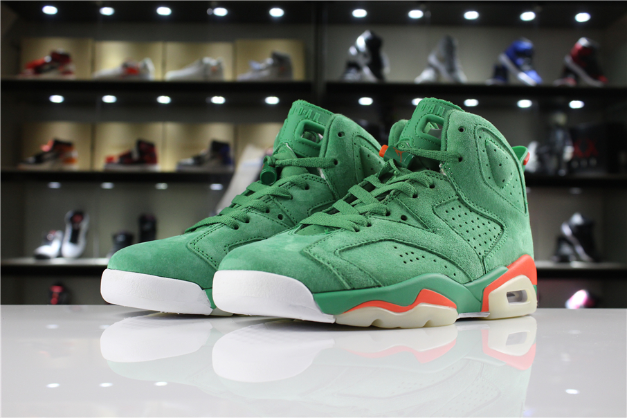 Cheap Air Jordan 6 Gatorade In Green Suede