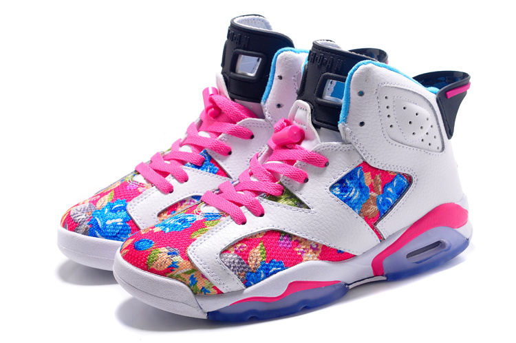 Air Jordan 6 Retro GS White Black Pink Flower Leaf Print Shoes