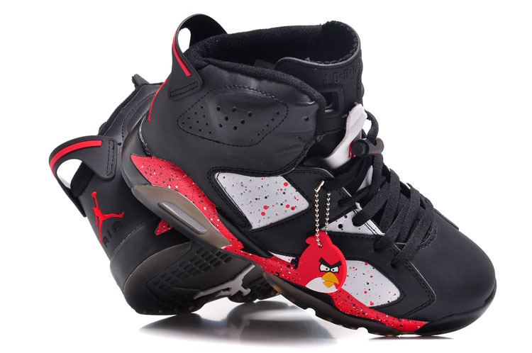 Air Jordan 6 VI Custom Angry Birds Black White Red Specked Shoes