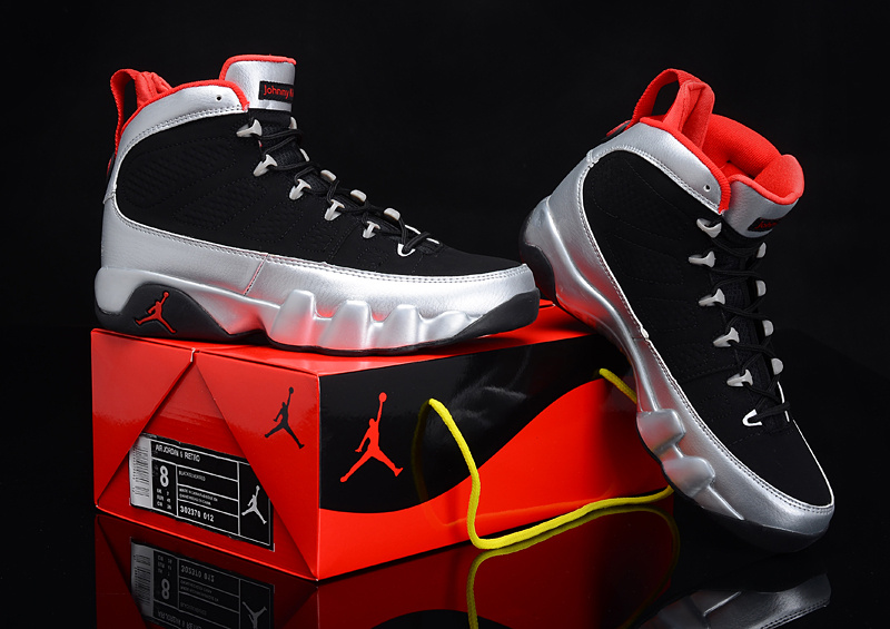 Newly Stylish Air Jordan Retro 9 Kilroys Black Silver Red