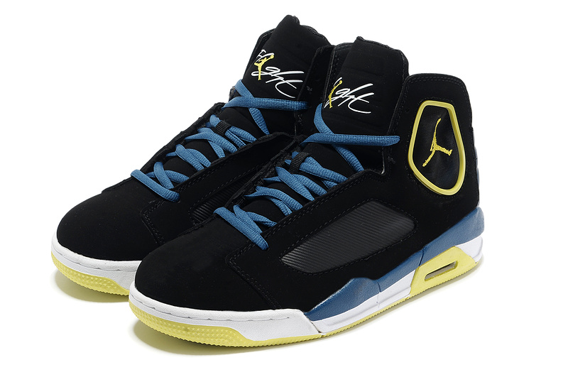 2013 Sportive Jordan Flight Luminary Black Yellow White Shoes