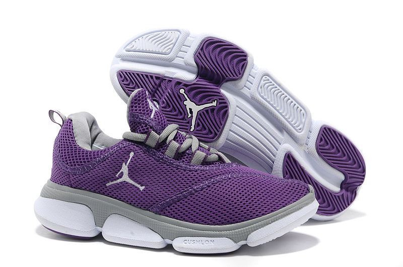 Air Jordan Running Shoes Purple Grey White For Women