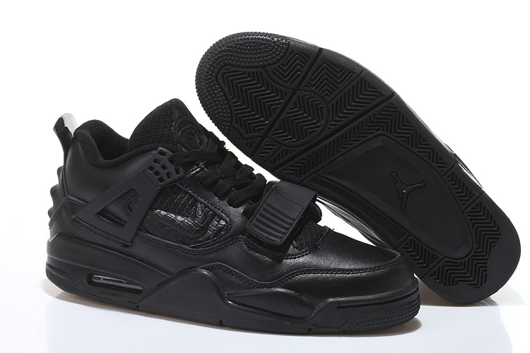 2015 Cheap Real All Black Air Jordan 4 Shoes With Strap