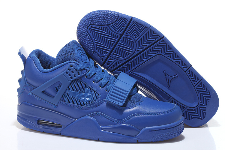 2015 Cheap Real All Blue Air Jordan 4 Shoes With Strap