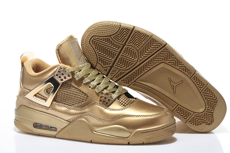 2015 Cheap Real All Gold Air Jordan 4 Shoes With Strap