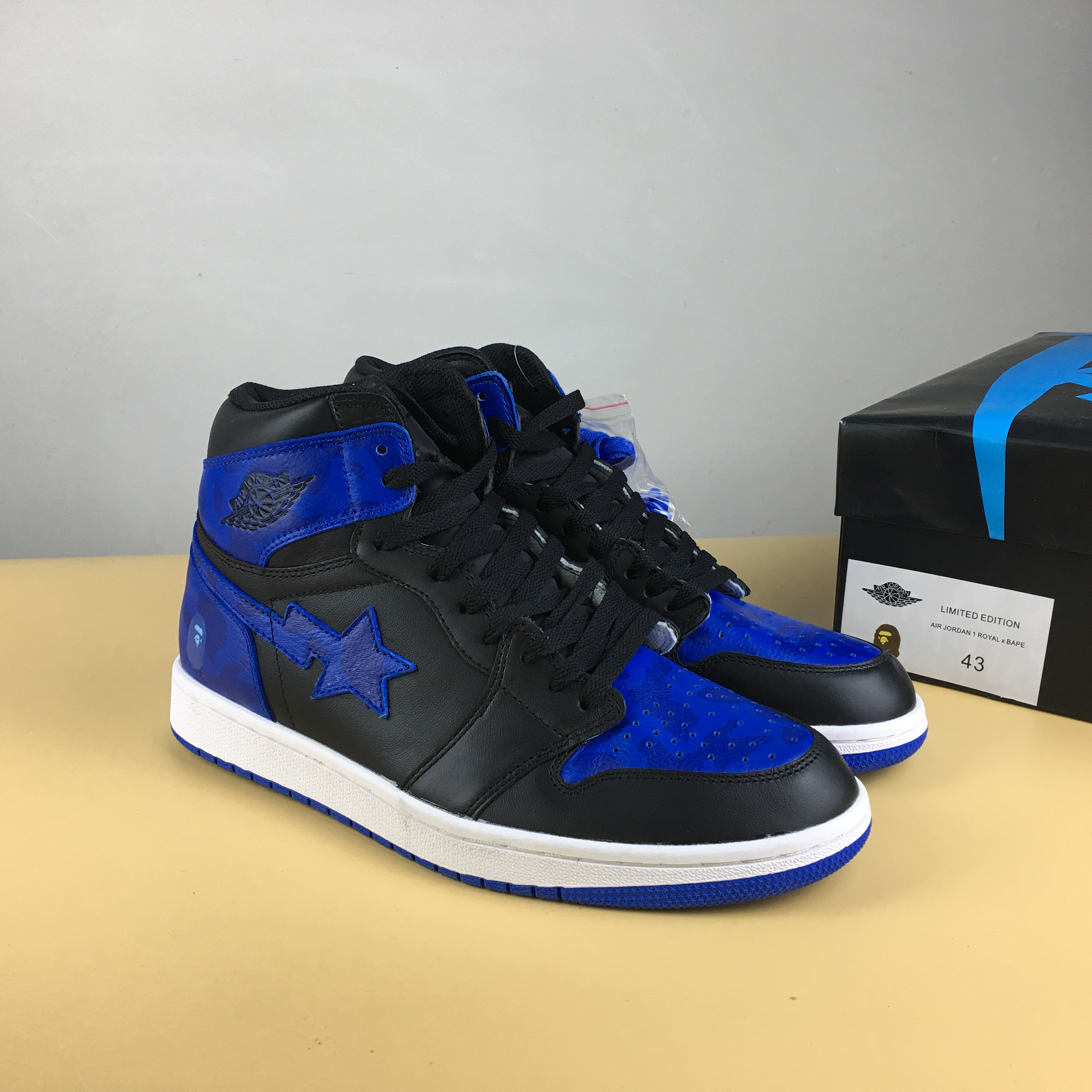 BAPE x Air Jordan 1 Black Royal Blue Shoes