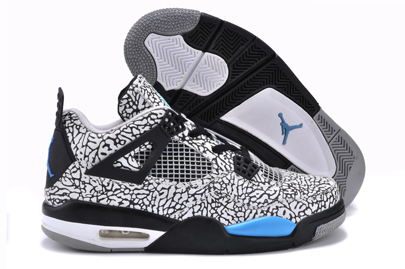Cheetah Print Jordan 4 White Black Blue Shoes