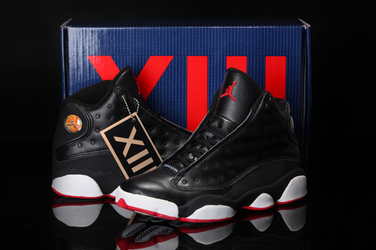 2013 Cool Summer Jordan 13 Retro Black White Red Shoes