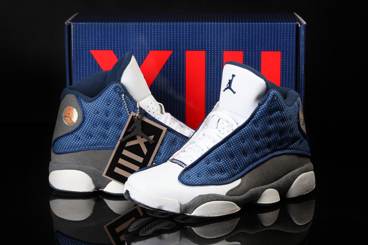 2013 Cool Summer Jordan 13 Retro White Blue Grey Shoes