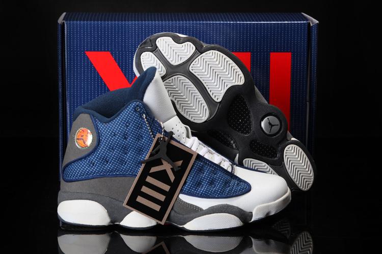 c9d2d8c13a 2013 Cool Summer Jordan 13 Retro White Blue Grey Shoes - $77.00